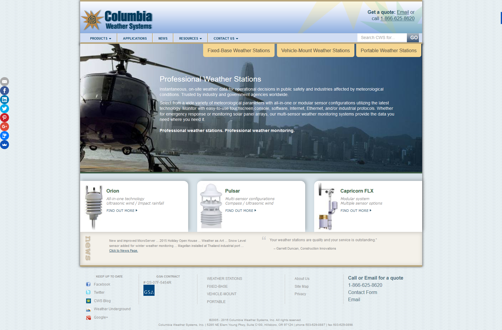Columbia Weather Systems Website
