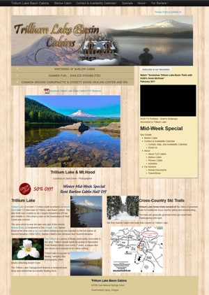Trillium Lake Basin Cabins Website